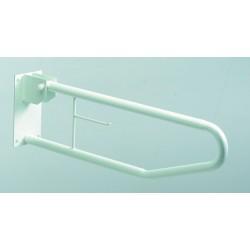 Barre de maintien relevable Basica  en acier avec support papier toilette -  H330/1